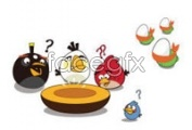 Link toSeveral angry cartoon birds vector