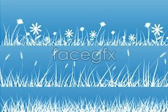 Link tovector silhouettes flower background blue Several