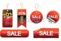 Link toSeveral hanging red shopping card vector