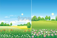 Link toSeveral idyllic background vector
