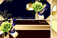 Link toSeveral kinds of flowers ribbon gift card vector