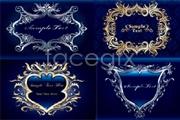 Link toSeveral ornate royal blue-border vector