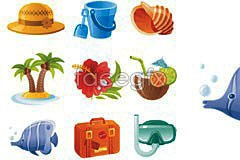 vector icon theme seaside wonderful Several