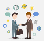 Shaking hands cartoon business man vector