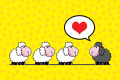 Link toSheep cartoon black and white background vector