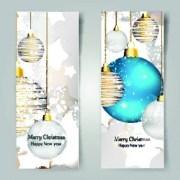 Link toShiny christmas balls banner design vector 01