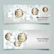 Link toShiny christmas balls banner design vector 03