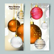 Link toShiny christmas balls banner design vector 04
