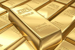 Shiny gold bars design vector