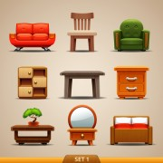 Link toShiny modern furniture icons vector 01 free