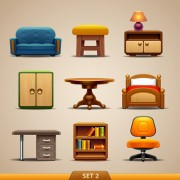 Link toShiny modern furniture icons vector 02 free