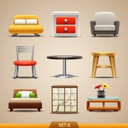 Link toShiny modern furniture icons vector 05 free