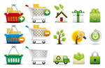 Link toShopping and green icons