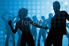 Link toSilhouettes and disco men and women circle vector background