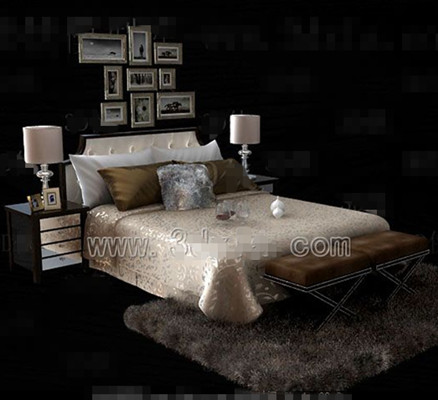Link toSilver yellow theme double bed 3d model
