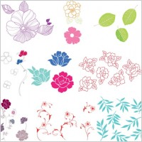 Link toSimple case of a variety of flowers leaves vector