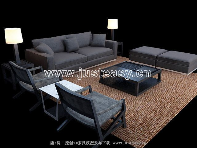 Link toSimple combination of classical european-style black sofa 3d model