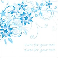 Link toSimple handpainted flowers and blue text background pattern vector 1