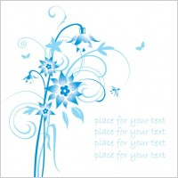 Link toSimple handpainted flowers and blue text background pattern vector 2