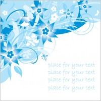 Link toSimple handpainted flowers and blue text background pattern vector 3