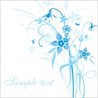 Link toSimple handpainted flowers and blue text background pattern vector 5