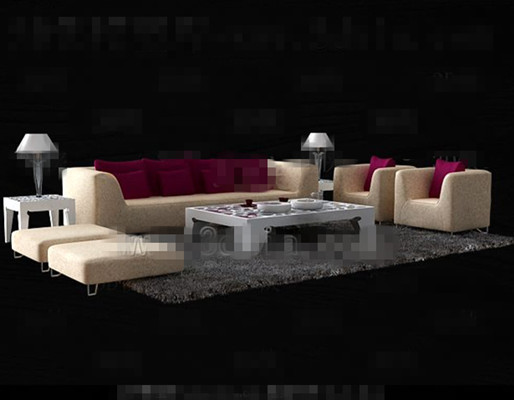 Link toSimple rose red sofa combination 3d model