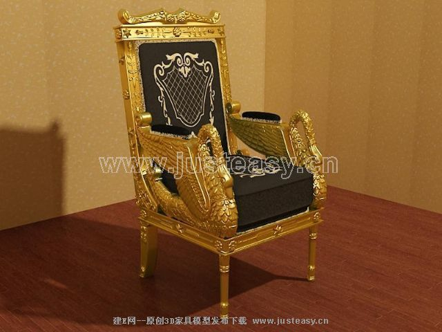 Link toSingle gold sofa 3d model