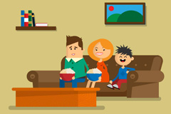 Link toSitting on the sofa of a family of three vector diagrams