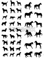 Link toSketch of horses and dogs vector