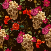 Link toSkull and poppies flower seamless pattern vector free