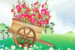 Link tovector flowers car, wooden Small