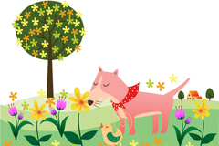 Link toSmell flowers in the wild dog, vector illustration