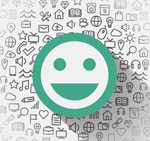 Smiley face social media background vector