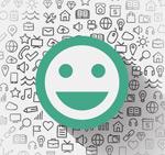 Link toSmiley face social media background vector