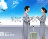 Smiling successful cooperation to discuss coffee, blue sky airplane psd
