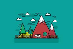 Link toSnow mountain ranch cow under vector