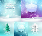Snowflake background and christmas trees vector