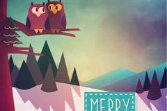 Link toSnowy owl christmas card vector