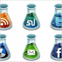 Link toSocial media beakers icons pack