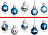 Social media christmas balls vector free