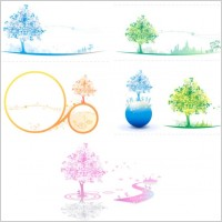 Link toSoft colored trees vector