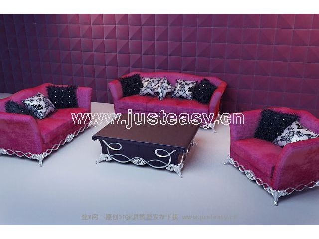 Link toSoft red fabric sofa 3d model (including materials)