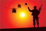 Link toSoldier silhouettes and helicopters vector
