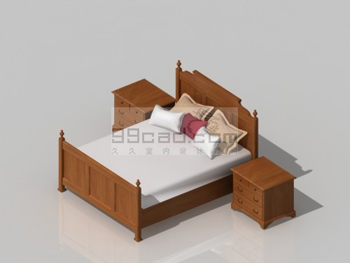 Link toSolid wood double bed and cabinet 3d model
