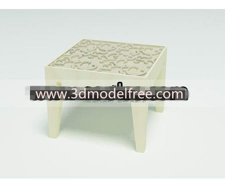 Link toSolid wooden carved low stool 3d model