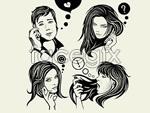 Link toSpeak to black and white illustrations vector