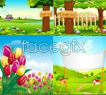 Spring and summer landscape vector