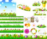 Link toSpring flowers and green grass vector