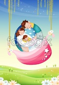 Spring flowers tanaka family vector