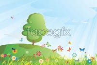 Link toSpring landscape cartoon vector